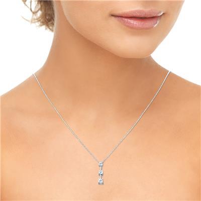 1/2 Carat TW Three Stone Diamond Pendant in 10K White Gold