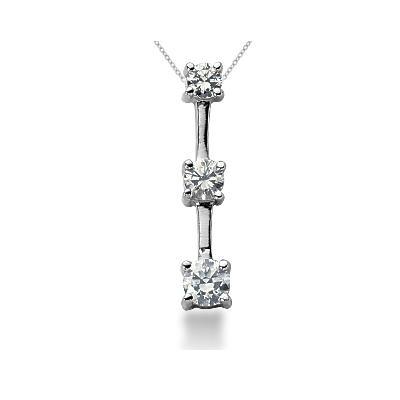 0.50CTW Classic Four Prong Three Stone Diamond Pendant in Palladium