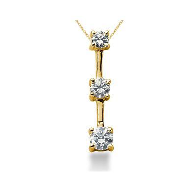 0.50CTW Classic Four Prong Three Stone Diamond Pendant in 18k Yellow Gold
