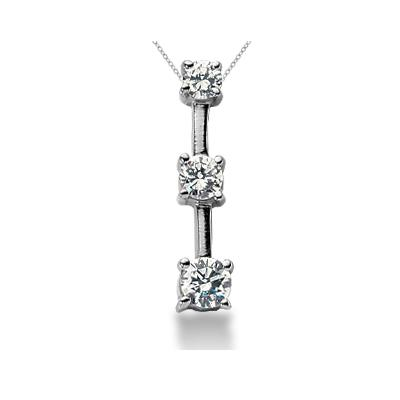 0.70CTW Classic Four Prong Three Stone Diamond Pendant in 18k White Gold