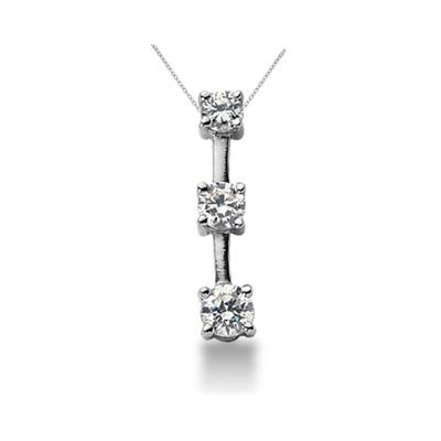 0.95CTW Classic Four Prong Three Stone Diamond Pendant in Palladium