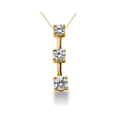0.95CTW Classic Four Prong Three Stone Diamond Pendant in 18k Yellow Gold