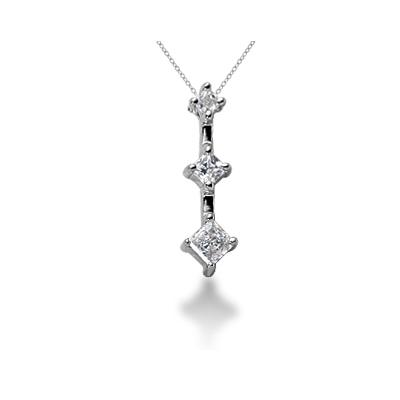 0.32CTW Classic Princess Diamond Three Stone Pendant in 18k White Gold