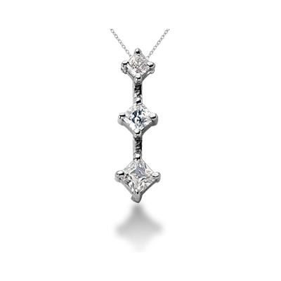 0.54CTW Classic Princess Diamond Three Stone Pendant in 18k White Gold