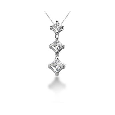 0.84CTW Classic Princess Diamond Three Stone Pendant in 18k White Gold