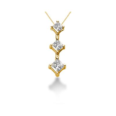 0.84CTW Classic Princess Diamond Three Stone Pendant in 18k Yellow Gold