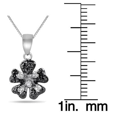 Diamond Flower Pendant and Earring Set in .925 Sterling Silver