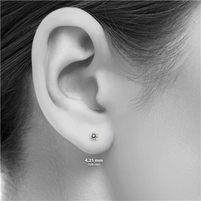 14K Yellow Gold 1 Carat Diamond Pendant and Earring Matching Set