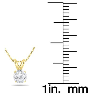 1 Carat TW Diamond Solitaire Pendant and Earring Matching Set in 14K Yellow Gold (H-I Color, SI1-SI2 Clarity)
