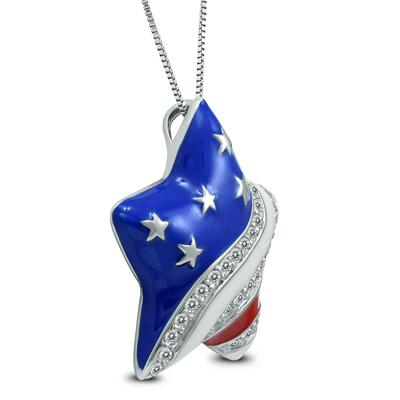 Red White and Blue Star Spangle Created White Sapphire Jewelry Set in  .925 Sterling Silver
