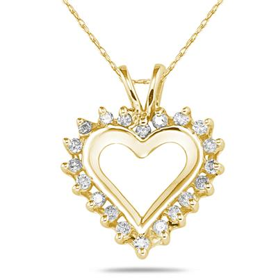 1/4 Carat TW Diamond Heart Pendant in 10k Yellow Gold