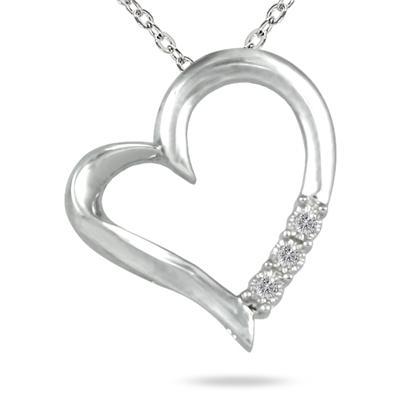 Three Stone Diamond Heart Pendant in .925 Sterling Silver