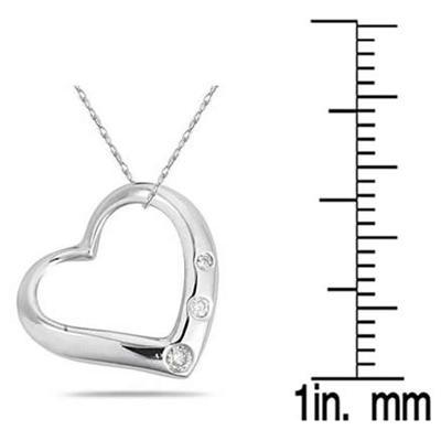 Three Stone Diamond Heart Slide Pendant in .925 Sterling Silver