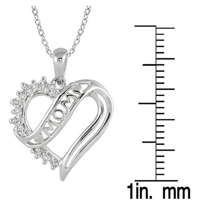 Diamond Heart MOM Pendant in .925 Sterling Silver