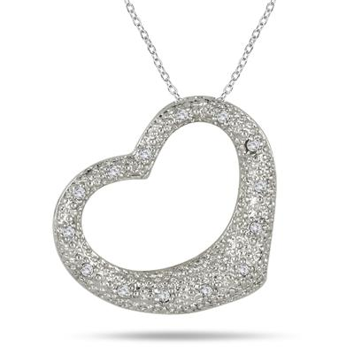 1/8 Carat Pave Diamond Heart Pendant in .925 Sterling Silver