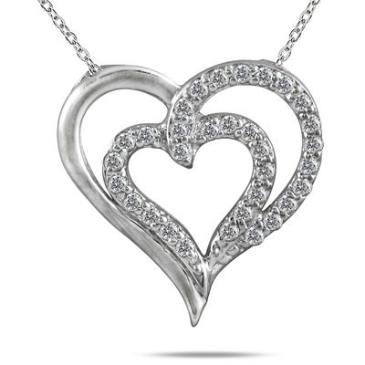 1/4 Carat TW Diamond Heart Pendant in 10K White Gold