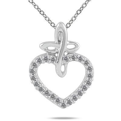 1/10 Carat TW in total White Diamond Pendant in 10K White Gold