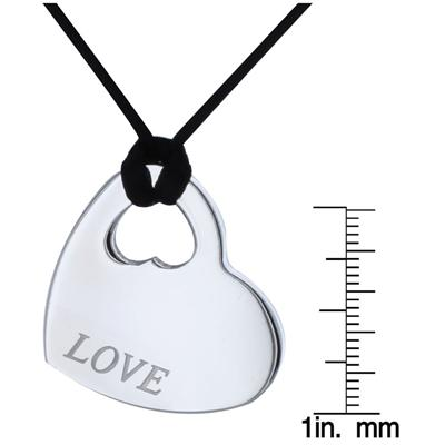Stainless Steel Love Heart Pendant with Silk Cord