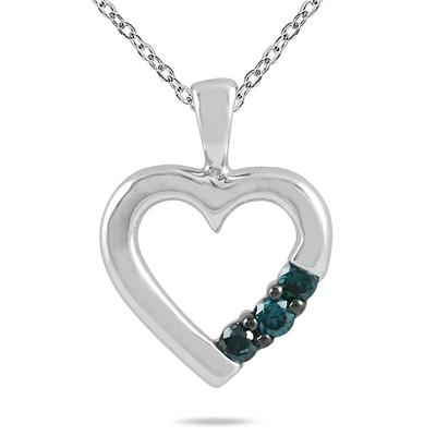 Three Stone Blue Diamond Heart Pendant in 10K White Gold