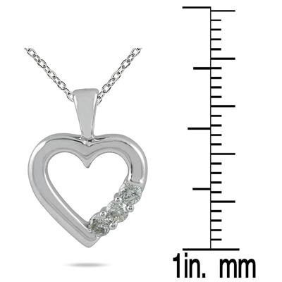 Three Stone Diamond Heart Pendant in 10K White Gold