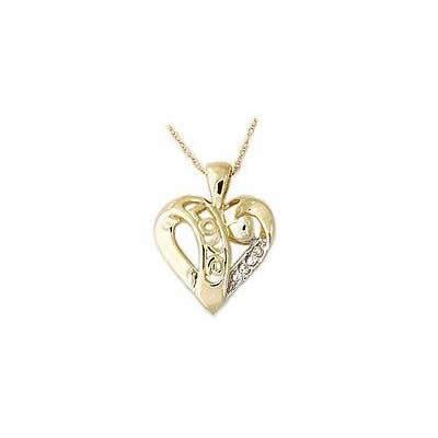 Diamond LOVE Engraved Heart Pendant