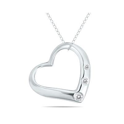 Three Stone Diamond Heart Slide Pendant in 10k White Gold