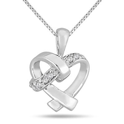 Diamond Heart Knot Pendant 10k White Gold