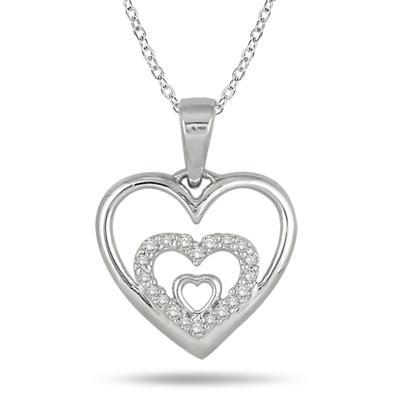 1/10 Carat Diamond Triple Heart Pendant in .925 Sterling Silver