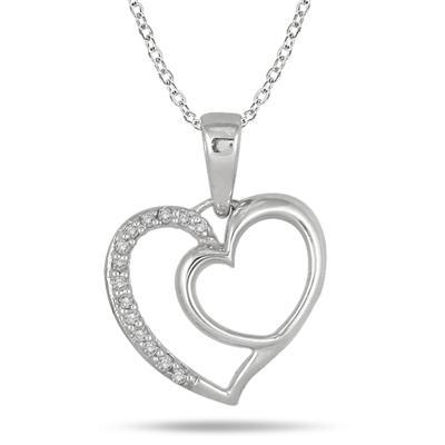 1/10 Carat Diamond Heart Pendant in .925 Sterling Silver