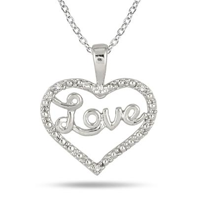 Diamond Heart LOVE Pendant in .925 Sterling Silver