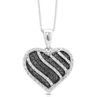 1/4 Carat Black Diamond Heart Pendant in .925 Sterling Silver