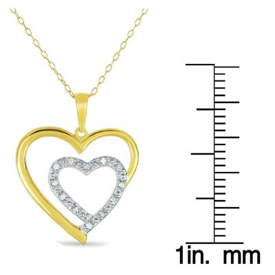18K Yellow Gold Plated 1/10 Carat Diamond Heart Pendant in .925 Sterling Silver
