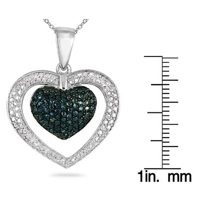 Blue and White Diamond Heart Pendant in .925 Sterling Silver