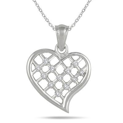 1/8 Carat Diamond Heart Pendant in .925 Sterling Silver