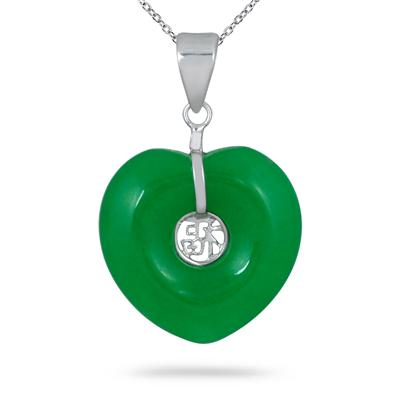 20mm Heart Shape All Natural Green Jade Pendant in .925 Sterling Silver