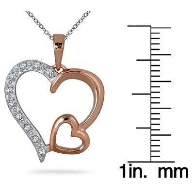 1/10 Carat Diamond Heart Pendant in 18K Pink Gold Plated Sterling Silver