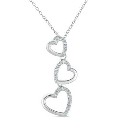 1/10 Carat Diamond Heart Link Pendant in .925 Sterling Silver