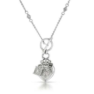 1/4 Carat Genuine Diamond Charm Necklace in .925 Sterling Silver