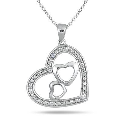 Diamond Triple Heart Pendant in .925 Sterling Silver