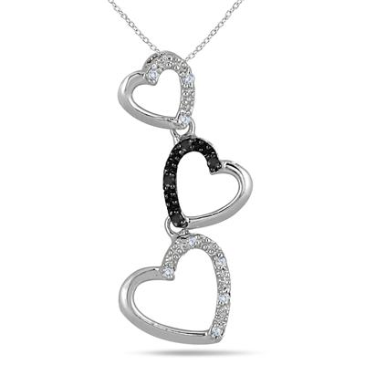 0.06 Carat Black and White Diamond Heart Link Pendant in .925 Sterling Silver