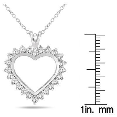be72f3d18 1 Carat TW Diamond Heart Pendant in 10K White Gold - PDH51379