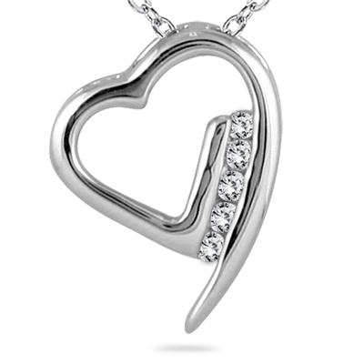 1/10 Carat TW Diamond Heart Pendant in 14K White Gold