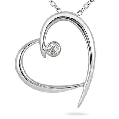Diamond Heart Pendant in 10K White Gold