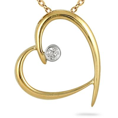 Diamond Heart Pendant in 10K Yellow Gold