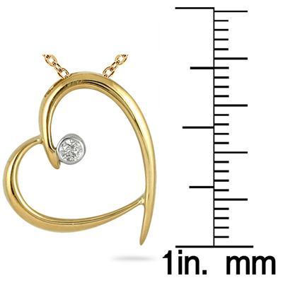 Diamond Heart Pendant in 10K Yellow Gold