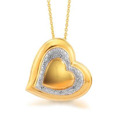 18K Gold Plated Diamond Heart Pendant in Brass