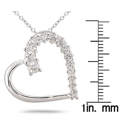 1/10 Carat Diamond Journey Heart Pendant in .925 Sterling Silver