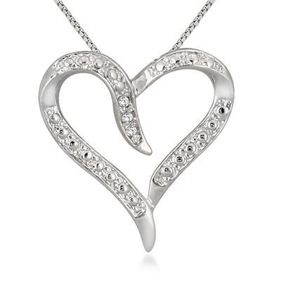 Diamond Heart Pendant in .925 Sterling Silver