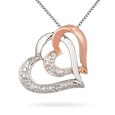 Diamond Double Heart Pendant in 18k Rose Gold Plated .925 Sterling Silver