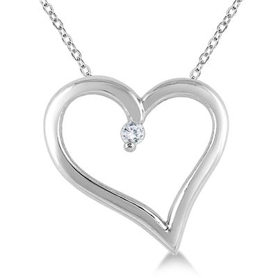 Classic Diamond Heart Pendant in .925 Sterling Silver